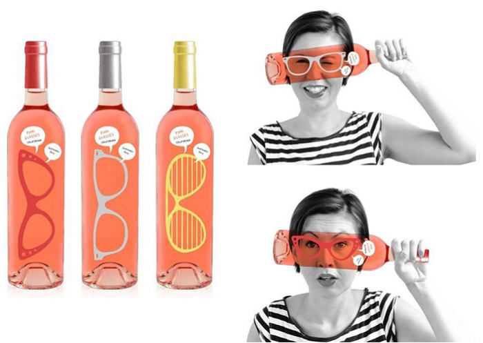 Botella vini-gafas